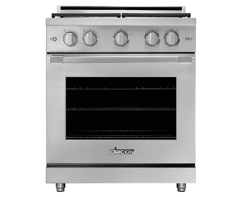 A silver stainless steel Dacor professional style 30 inch gas range.