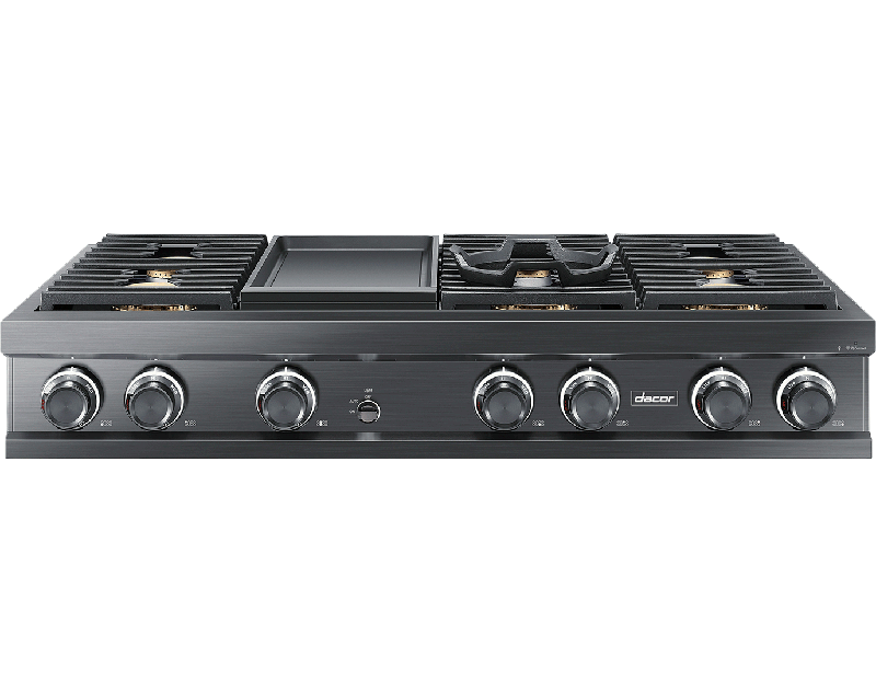 A Dacor contemporary style 48 inch rangetop with griddle in a graphite.
