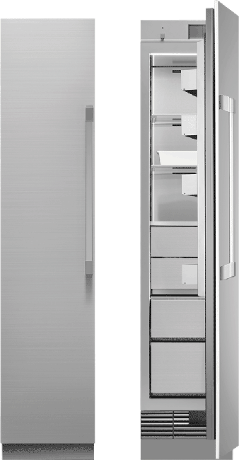A silver stainless steel Dacor 18 inch panel-ready column freezer.