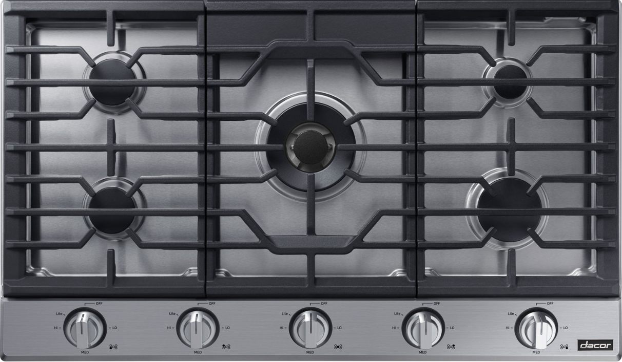 A silver stainless steel Dacor transitional style 36 inch gas cooktop.