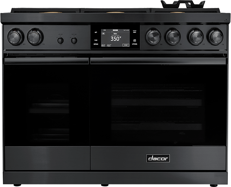 A Dacor contemporary style 48 inch dual-fuel steam range.
