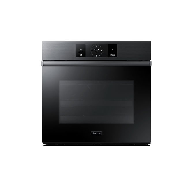 A graphite Dacor contemporary style 30 inch single wall oven.