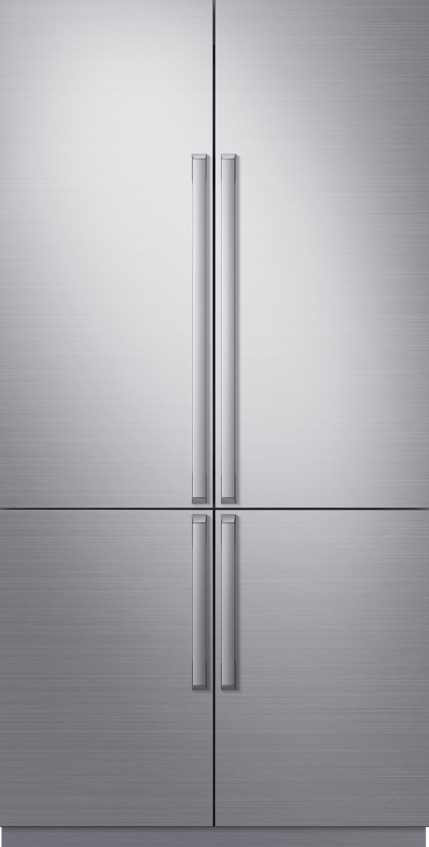 A silver stainless steel Dacor 42 inch panel-ready French door refrigerator.