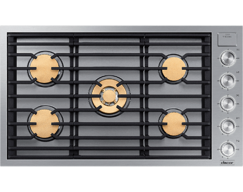 A silver stainless steel Dacor contemporary style 36 inch gas cooktop.