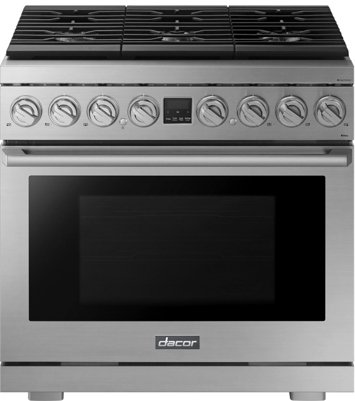 A silver stainless steel Dacor transitional style 36 inch dual-fuel range.