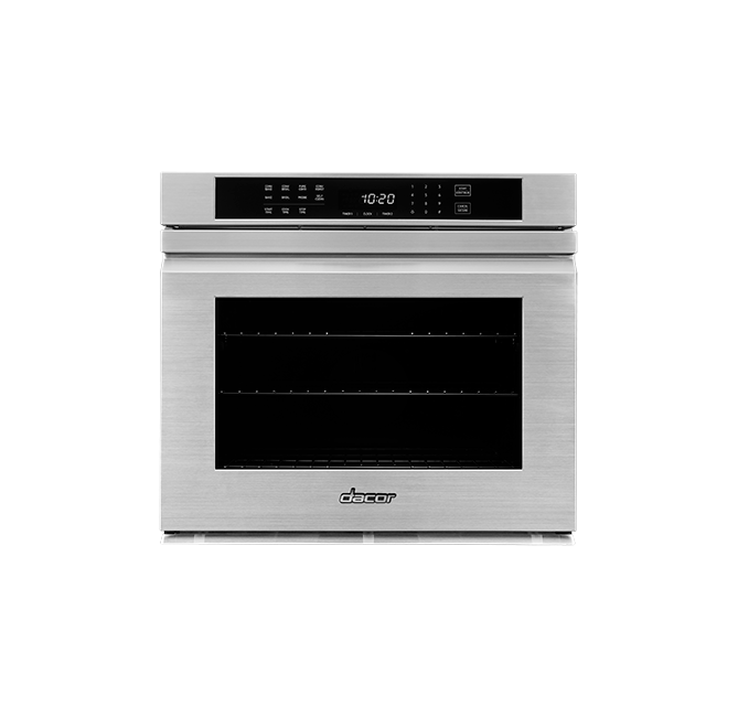 A silver stainless steel  Dacor professional style 30 inch flush single wall oven.