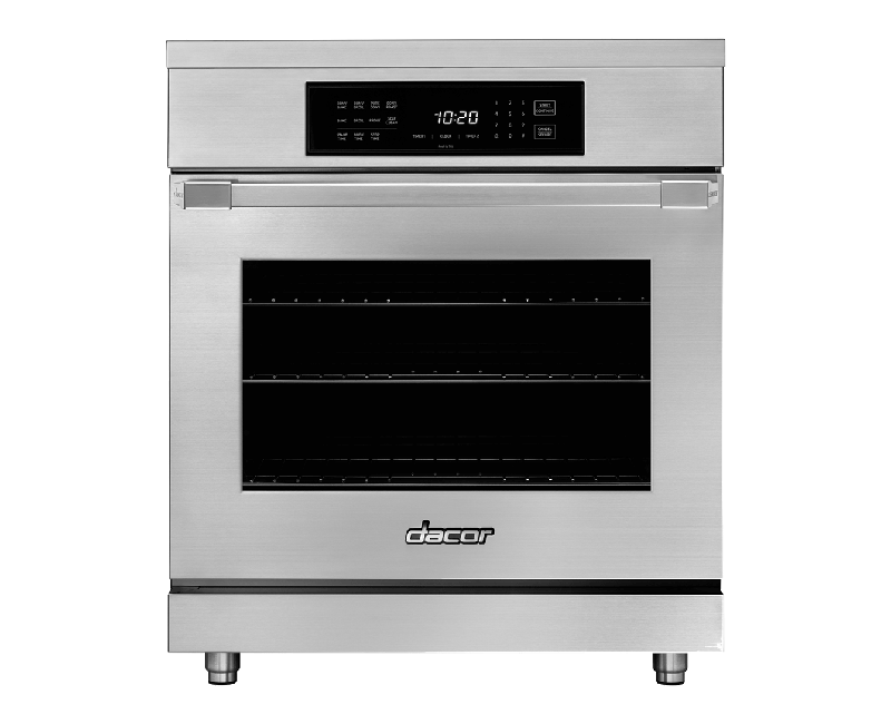 A silver stainless steel Dacor professional style 30 inch induction range.