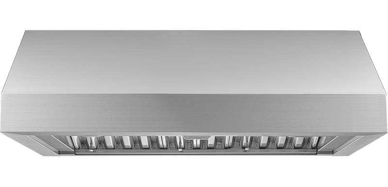 A silver stainless steel Dacor 36 inch wall hood.