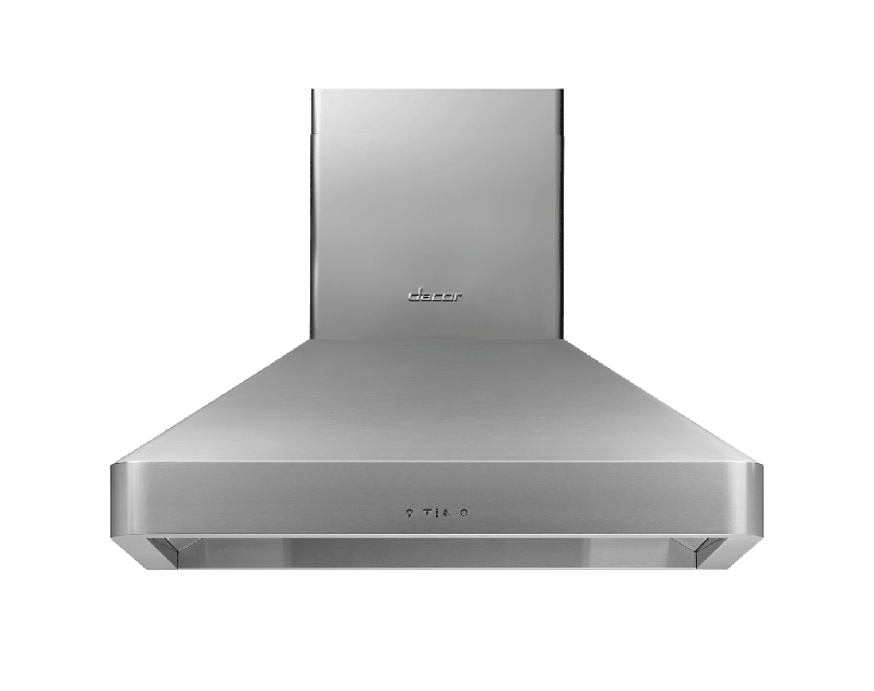 A silver stainless steel Dacor 36 inch chimney wall hood.