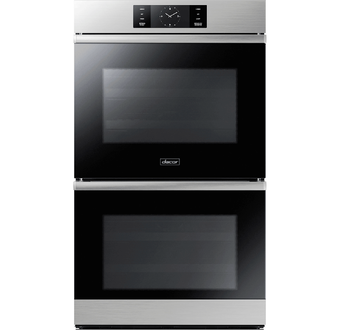 A silver stainless steel  Dacor contemporary style 30 inch double wall oven