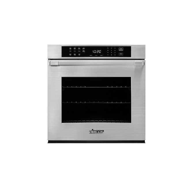 A silver stainless steel Dacor professional style 27 inch single wall oven.