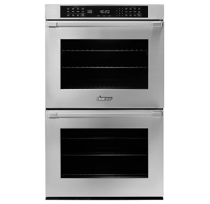 A silver stainless steel Dacor professional style 30 inch double wall oven.