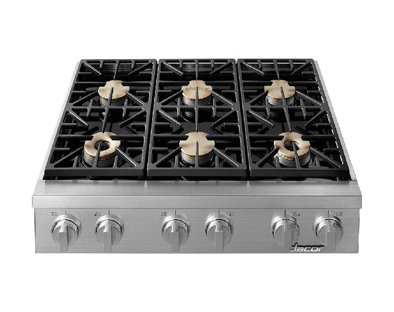A silver stainless steel Dacor professional style 36 inch rangetop.