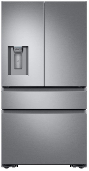A silver stainless steel Dacor 36 inch counter depth French door refrigerator with recessed handle.