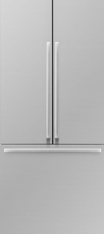 A silver stainless steel Dacor 36 inch panel-ready French door refrigerator.
