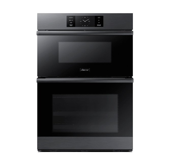 A graphite Dacor contemporary style 30 inch combination wall oven.