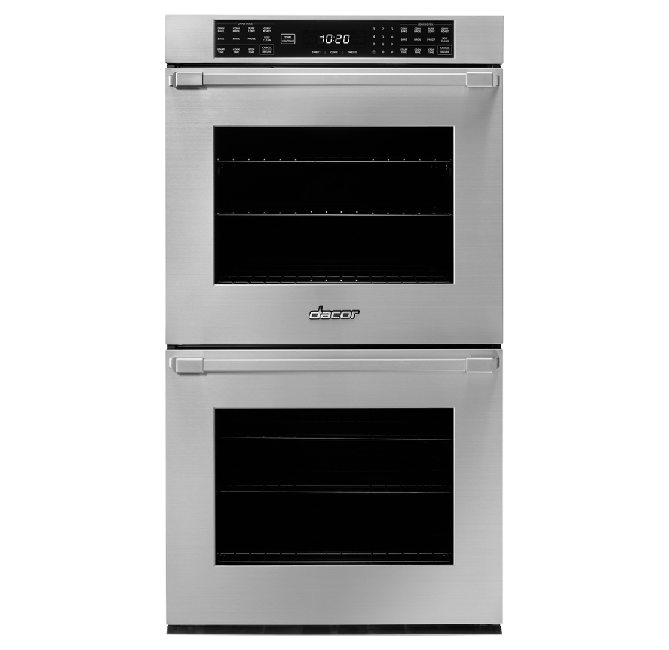 A silver stainless steel Dacor professional style 27 inch double wall oven.