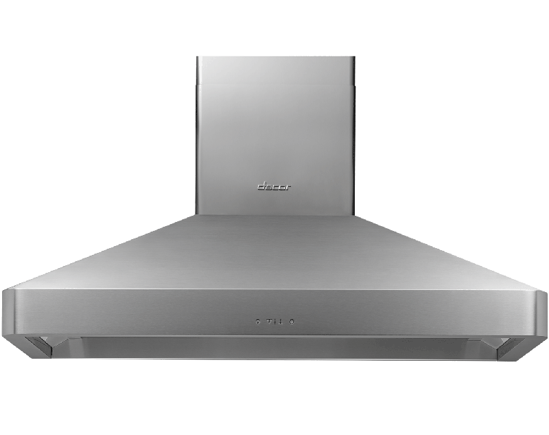 A silver stainless steel Dacor 48 inch chimney wall hood.