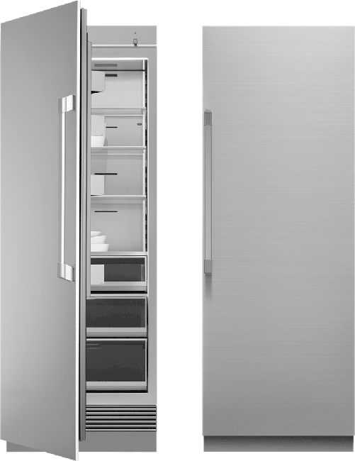 A silver stainless steel Dacor 30 inch panel-ready column refrigerator.