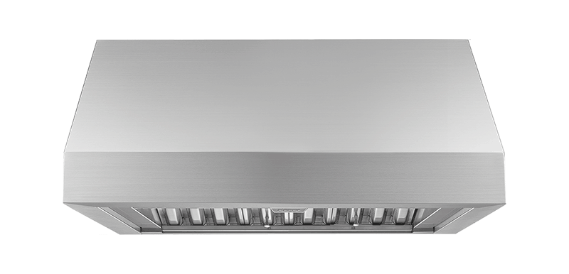 A silver stainless steel Dacor 30 inch wall hood.