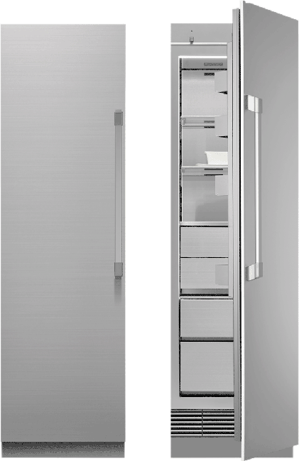 A silver stainless steel Dacor 24 inch panel-ready column freezer.