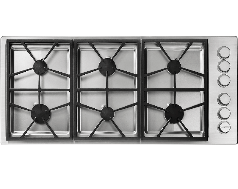A silver stainless steel Dacor professional style 46 inch gas cooktop.
