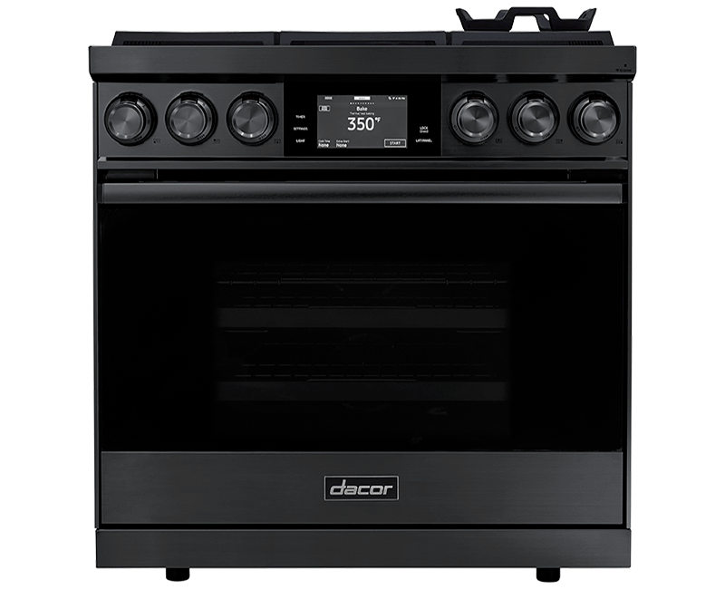 A Dacor contemporary style 36 inch dual-fuel steam range.