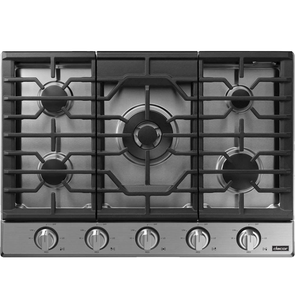 A silver stainless steel Dacor transitional style 30 inch gas cooktop.
