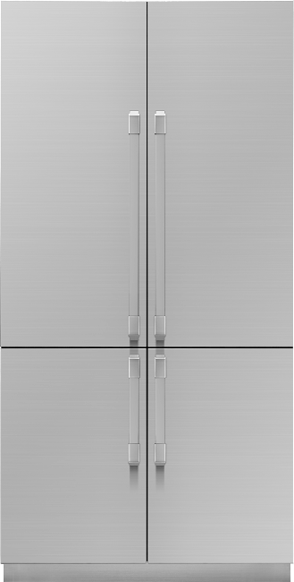 A silver stainless steel Dacor 42 inch panel-ready French door refrigerator with SteelCool.