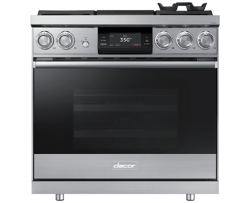 A silver stainless steel Dacor contemporary style 36 inch dual-fuel steam range with griddle.
