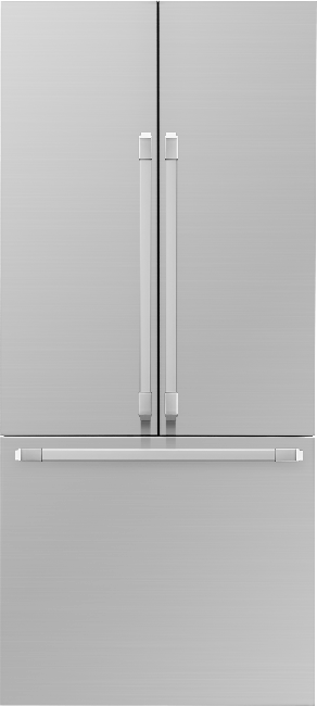 A silver stainless steel Dacor 36 inch panel-ready French door refrigerator with SteelCool.