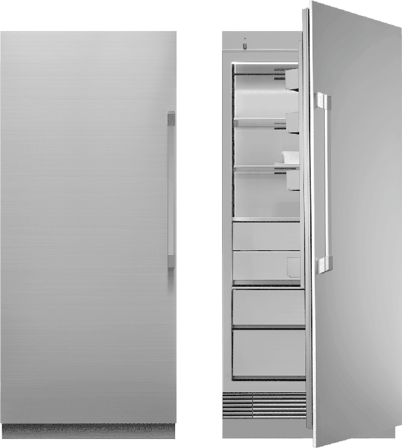 A silver stainless steel Dacor 36 inch panel-ready column freezer.