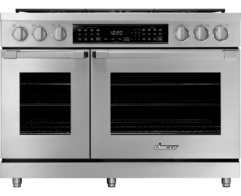 A silver stainless steel Dacor professional style 48 inch dual-fuel range.