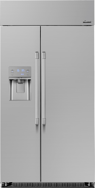 A silver stainless steel Dacor 42 inch built-in side-by-side refrigerator.