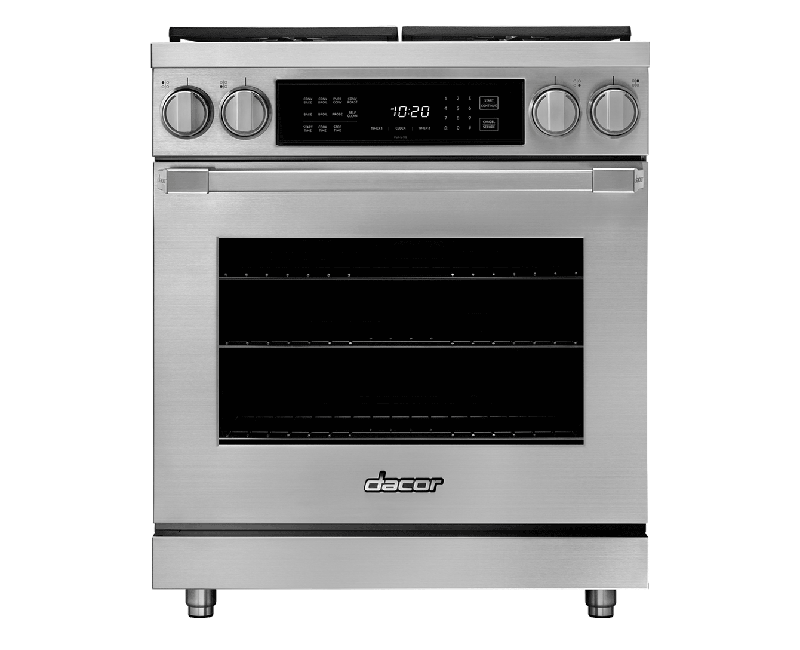 A silver stainless steel Dacor professional style 30 inch dual-fuel range.