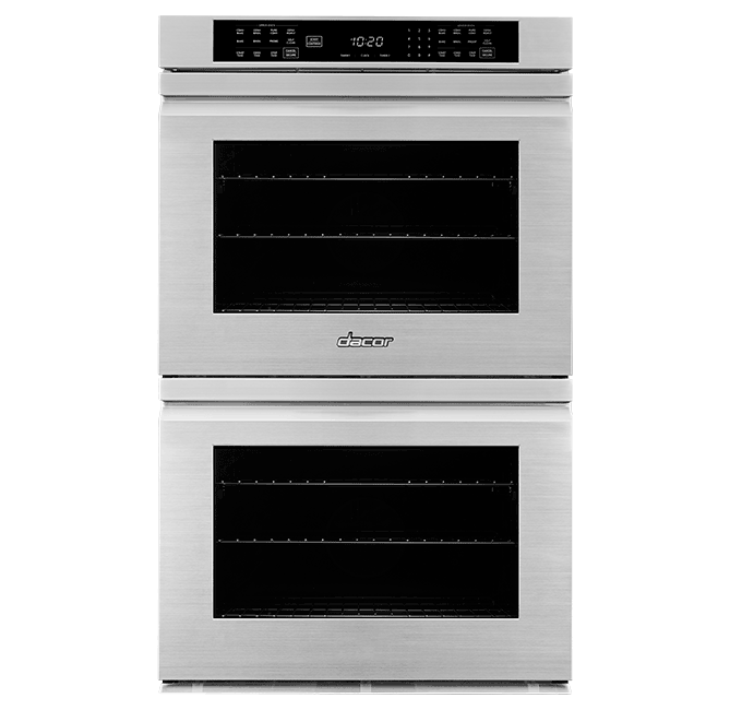 A silver stainless steel  Dacor professional style 30 inch flush double wall oven.
