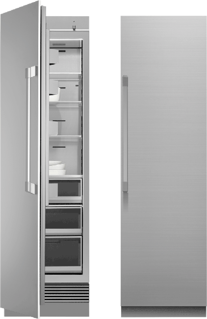 A silver stainless steel Dacor 24 inch panel-ready column refrigerator.