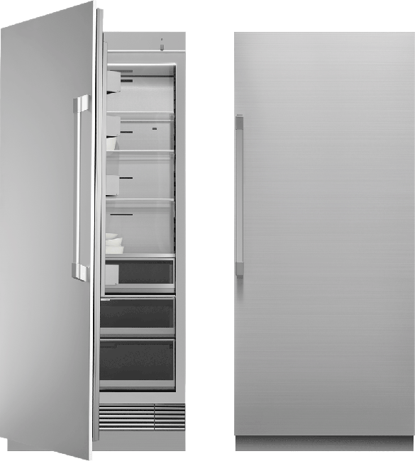 A silver stainless steel Dacor 36 inch panel-ready column refrigerator.