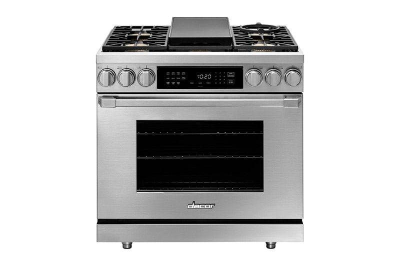 A Dacor professional style 36 inch dual-fuel range with a griddle in the center of the cooktop.