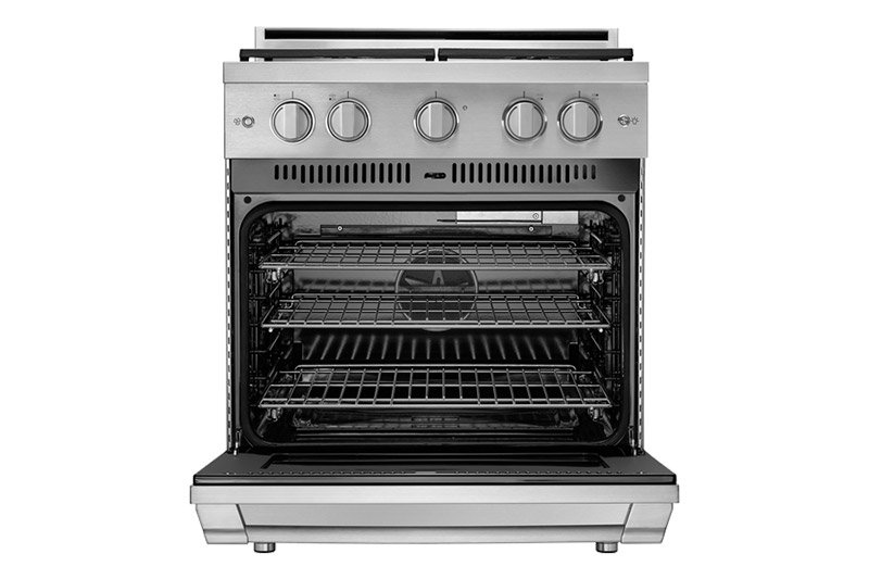 A Dacor professional style 30 inch gas range with the oven door fully open.