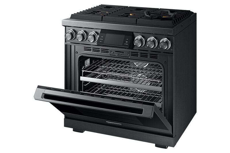 A graphite Dacor contemporary style 36 inch gas range with the oven door partially open.