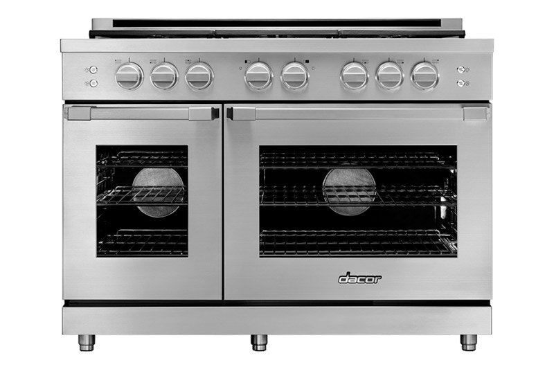 A silver stainless steel Dacor professional style 48 inch gas range.