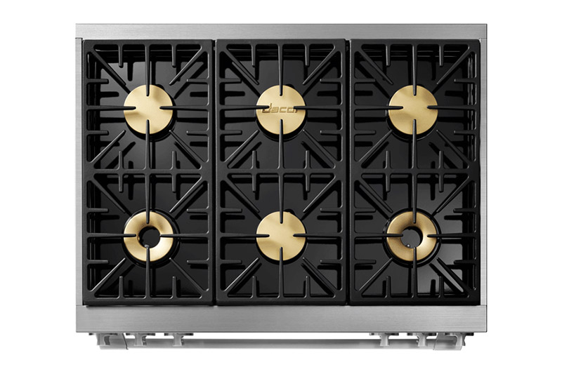 The cooktop surface of a Dacor professional style 36 inch dual-fuel range.