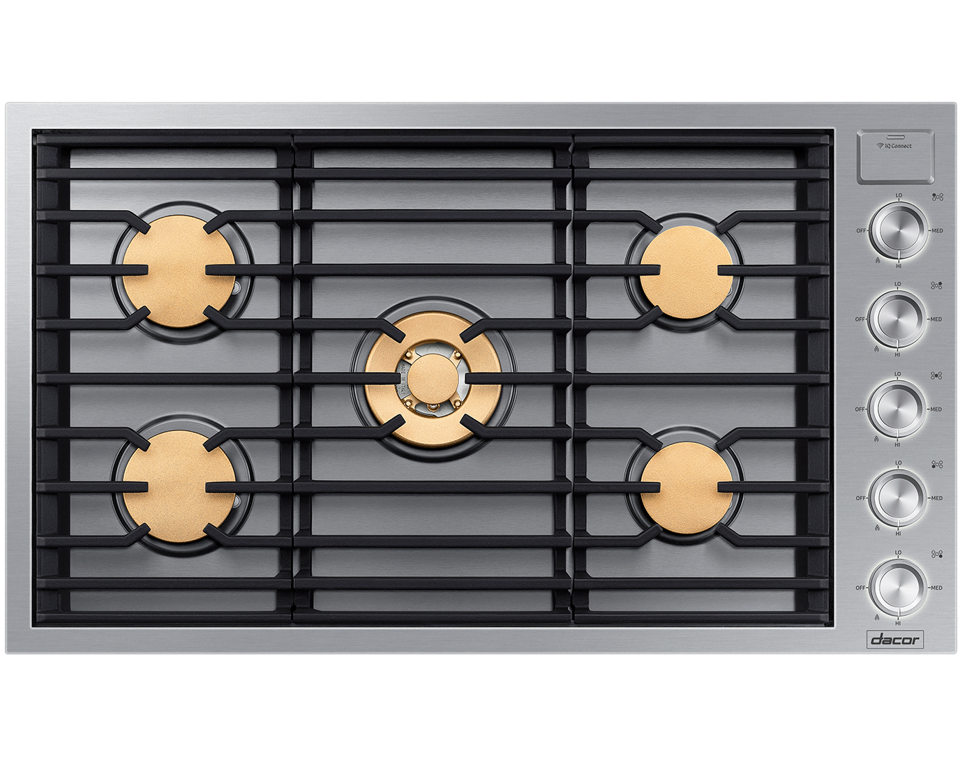 A silver stainless steel Dacor cooktop.