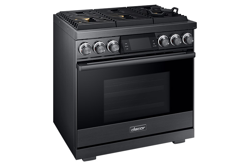 A graphite Dacor contemporary style 36 inch gas range