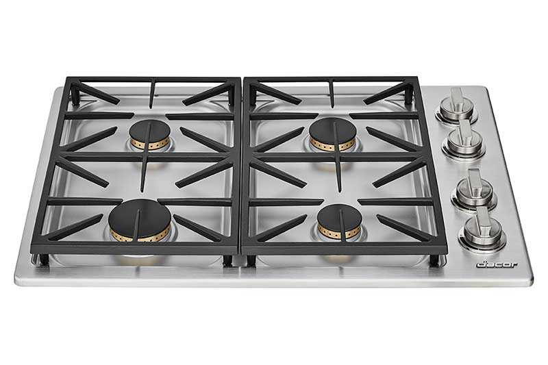 A silver stainless steel Dacor professional style 30 inch gas cooktop.