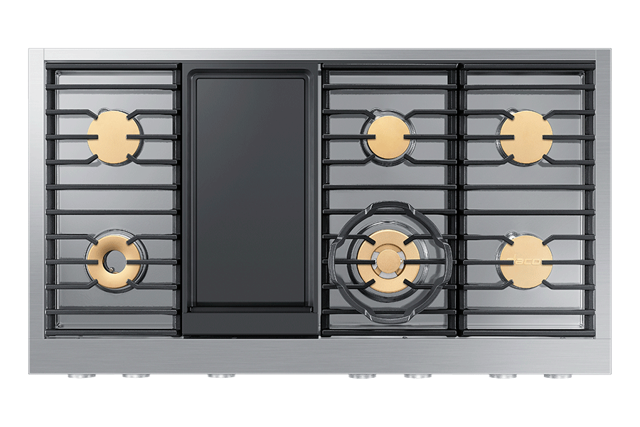 The cooktop of a Dacor rangetop with griddle.