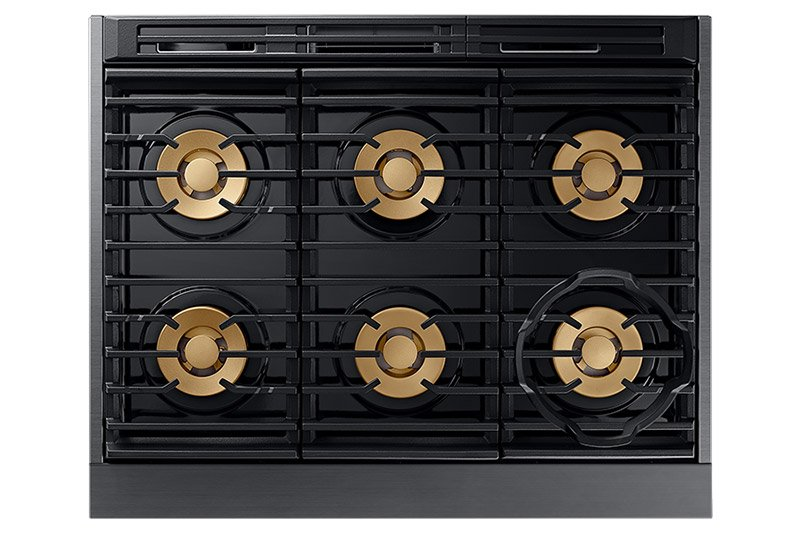 The cooktop surface of a graphite Dacor contemporary style 36 inch gas range.