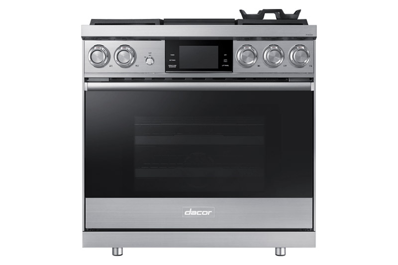 A silver stainless steel Dacor contemporary style 36 inch gas range.