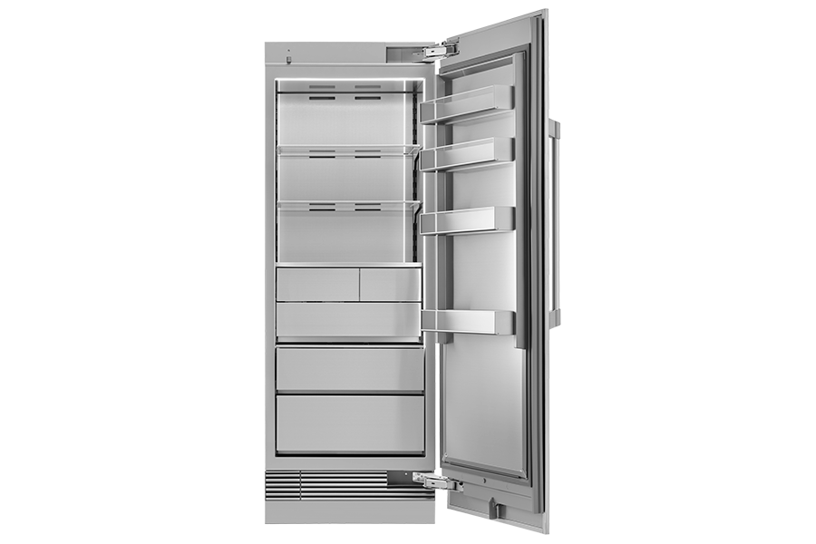 A Dacor column refrigerator with the door open.